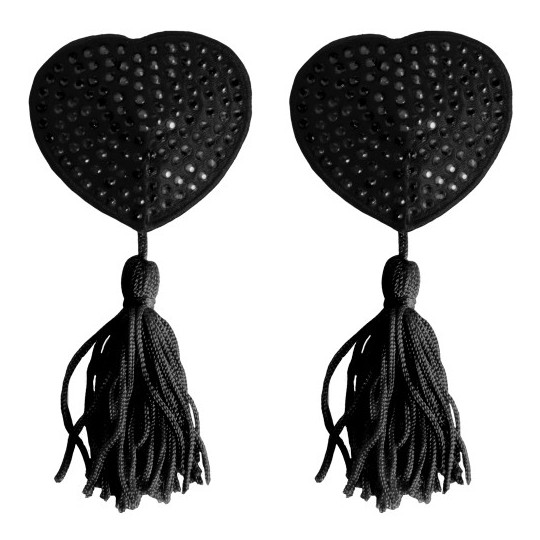 HEART NIPPLE TASSELS OUCH! NIPPLE COVERS BLACK