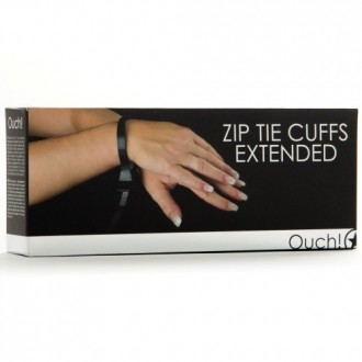 DISPOSABLE OUCH! ZIP TIE CUFFS EXTENDED BLACK