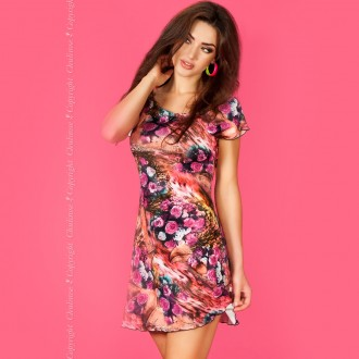 MINI DRESS CR-3682 PINK AND CORAL