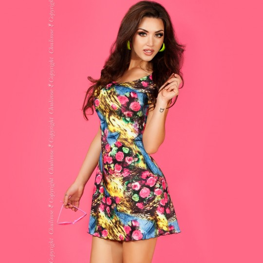 MINI DRESS CR-3682 BLUE AND YELLOW