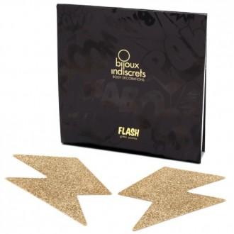 FLASH GLITTER BOLT NIPPLE COVERS BIJOUX INDISCRETS GOLD