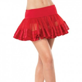 TULLE SKIRT WITH SATIN DETAILS RED