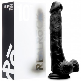 "REALROCK 10"" REALISTIC DILDO WITH TESTICLES BLACK"