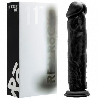 """REALROCK 11"""" REALISTIC DILDO BLACK"""