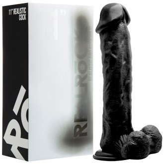 "REALROCK 11"" REALISTIC DILDO WITH TESTICLES BLACK"