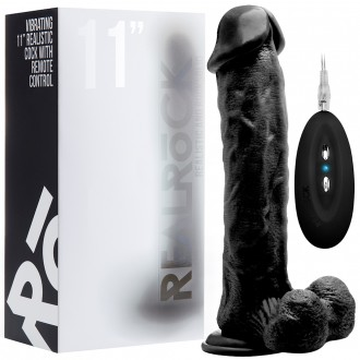 "REALROCK 11"" REALISTIC VIBRATOR WITH TESTICLES BLACK"