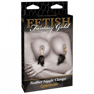 DELUXE FEATHER CLAMPS FETISH FANTASY GOLD