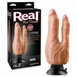 REAL FEEL DELUXE Nº8 DOUBLE PENETRATOR REALISTIC VIBRATOR 7,5' WHITE