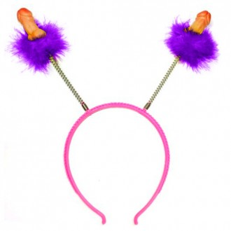 HAIRBAND DECORATED WITH PURPLE FEATHERS AND PENIS