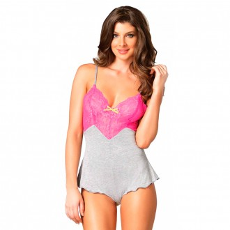 LEG AVENUE SERAPHINA BODY GREY AND PINK