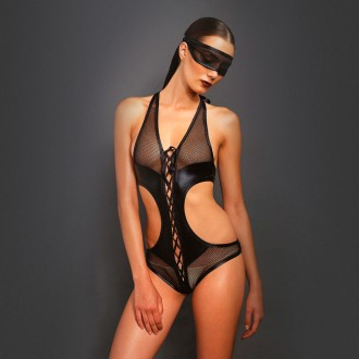 LEG AVENUE FISHNET BODY WITH MASK BLACK