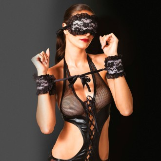 LEG AVENUE HANDCUFFS AND BLINDFOLD BLACK AND PINK