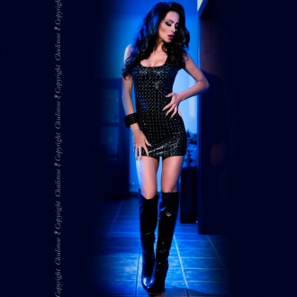 3D MINI DRESS CR-4016 BLACK