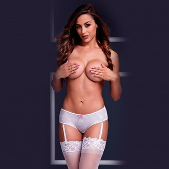 CROTCHLESS SHORTS WITH GARTERS 3122 BACI WHITE