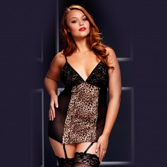 BABYDOLL 3109 BACI BLACK PLUS SIZE