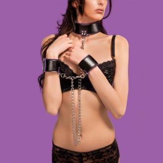 OUCH! REVERSIBLE COLLAR AND WRIST CUFFS PURPLE AND BLACK