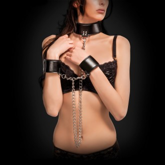 OUCH! REVERSIBLE COLLAR AND WRIST CUFFS BLACK