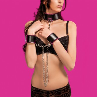 OUCH! REVERSIBLE COLLAR AND WRIST CUFFS PINK AND BLACK