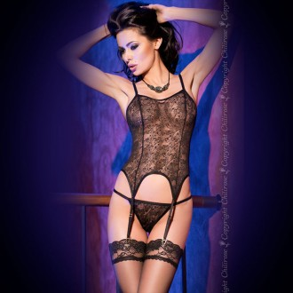 CORSET WITH THONG CR-4123 BLACK
