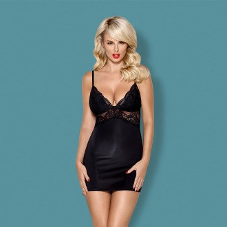 OBSESSIVE 810-CHE CHEMISE AND THONG BLACK