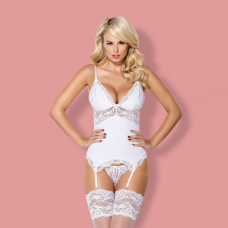 OBSESSIVE 810-COR CORSET AND THONG WHITE