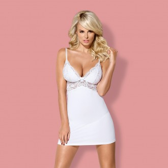 OBSESSIVE 810-CHE CHEMISE AND THONG WHITE