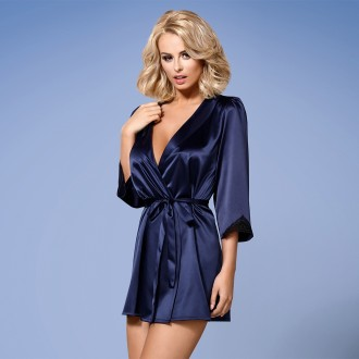 OBSESSIVE ROBE AND THONG SATINIA BLUE