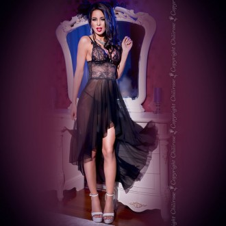 GOWN AND THONG CR-4162 BLACK