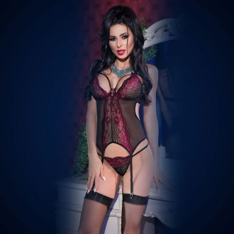 LACE CORSET AND THONG CR-4213 BLACK AND PINK