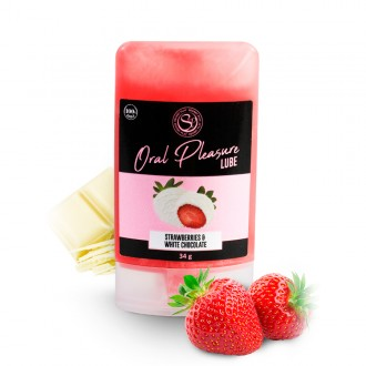 ORAL PLEASURE WHITE CHOCOLATE AND STRAWBERRY KISSABLE LUBRICANT 34GR