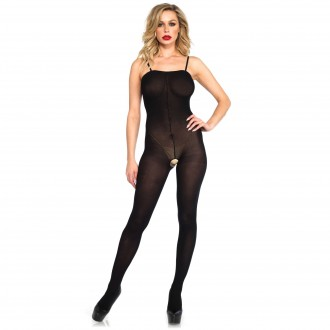 OPAQUE BODYSTOCKING WITH SPAGHETTI STRAPS AND FRONT SEAM