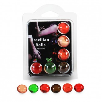 BOLAS LUBRICANTES BESABLES BRAZILIAN BALLS MULTISABORES 6 x 4GR
