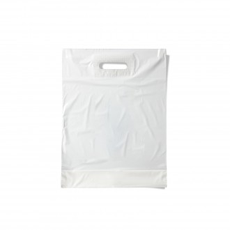 PLASTIC BAG WITH CUT AND REINFORCED WHITE SMALL