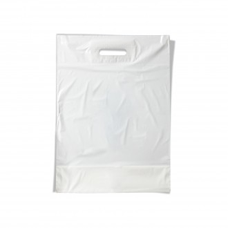 PLASTIC BAG WITH CUT AND REINFORCED WHITE LARGE