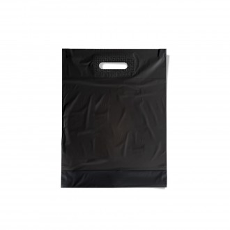 PLASTIC BAG WITH CUT AND REINFORCED BLACK SMALL