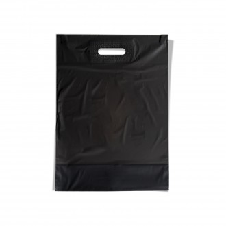 PLASTIC BAG WITH CUT AND REINFORCED BLACK LARGE