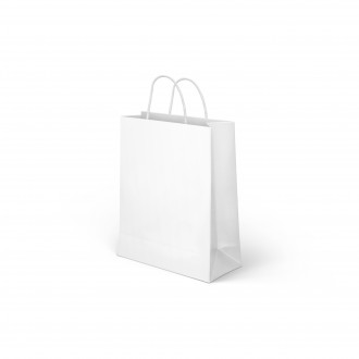 PAPER BAG WITH HANDLES WHITE MEDIUM