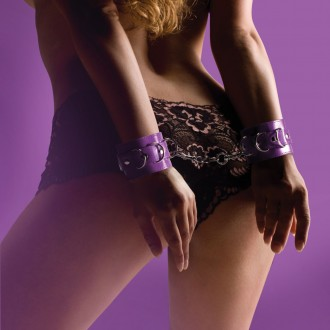 OUCH! LEATHER HANDCUFFS PURPLE