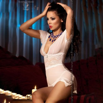 CHEMISE AND THONG CR-4009 WHITE