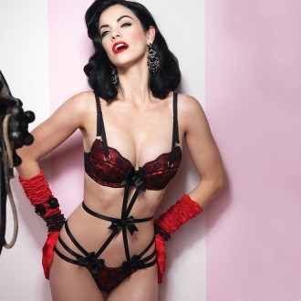 BODY WITH RED SATIN AND LACE DETAILS