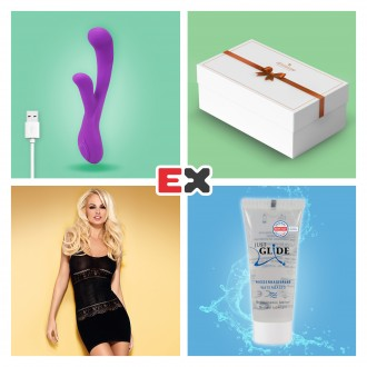 GIFT BOX WITH PURPLE ORCHID RECHARGEABLE VIBRATOR AND OFFER OF BISQUELLA CHEMISE S/M + JUST GLIDE LUBRICANT 20 ML