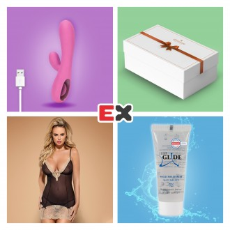 GIFT BOX WITH PINK TEASE RECHARGEABLE VIBRATOR AND OFFER OF BISQUELLA CHEMISE S/M + JUST GLIDE LUBRICANT 20 ML