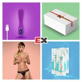 GIFT BOX WITH PURPLE TUNDRA ROSE TEASE RECHARGEABLE VIBRATOR AND OFFER OF CHARMEA THONG L/XL + 3 X PJUR WOMAN NUDE LUBRICANT 2ML