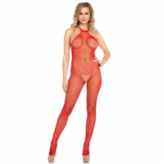BACKLESS FISHNET BODYSTOCKING RED