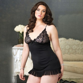 PLUS SIZE BLACK SHEER BABYDOLL WITH LACE DETAILS AND RHINESTONES