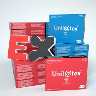 MIX DE 50 CAJAS DE 144 CONDONES UNILATEX
