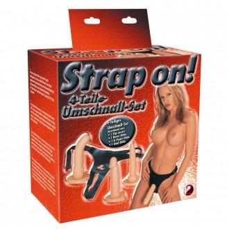 STRAP-ON WITH 3 DILDOS WHITE