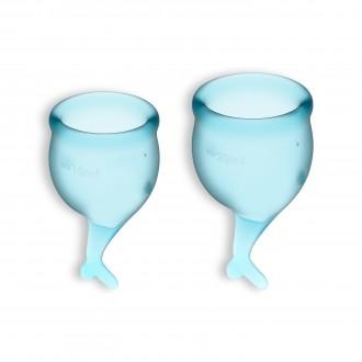 FEEL SECURE 2 MENSTRUAL CUPS SET SATISFYER LIGHT BLUE