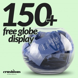 PACK OF CRUSHIOUS 150 WATERBASED LUBRICANT SACHETS WITH FREE GLOBE DISPLAY
