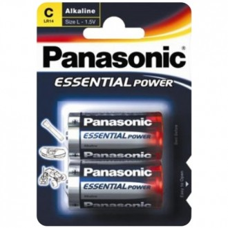 2 C LR14 ALKALINE PANASONIC BATTERIES